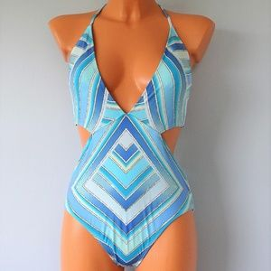Bar III NWT One Piece Ombre Scarf Swimsuit
